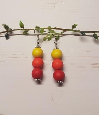 3 Bead Earrings Multicolour Mix-2