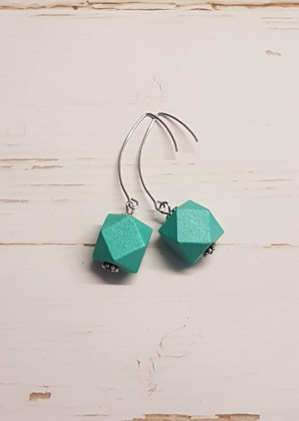 Hexagon Earrings -  Aqua