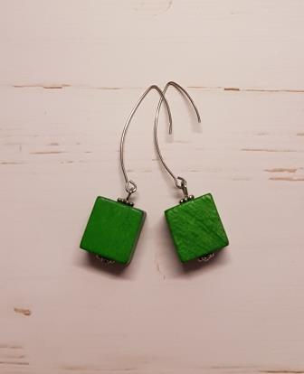 Cube Earrings Green