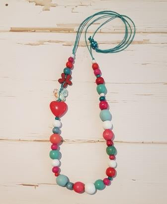 Long Side Feature Bead Necklace Multicoloured-1