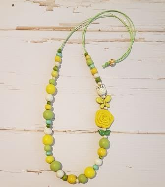 Long Side Feature Mixed Bead Necklace Yellow-2