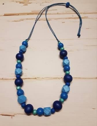 Small Hexagon & Round Bead Mix Blue-1