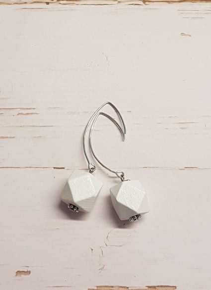 Hexagon Earrings -  White