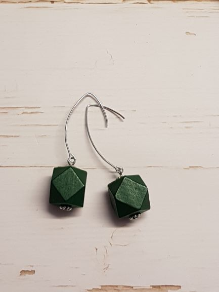 Hexagon Earrings -  Dark Green