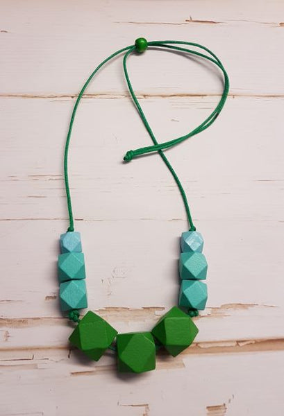 Chunky Hexagon Necklace - Dark Lime & Aqua