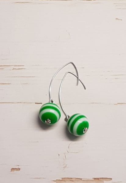 Stripe Earrings -  Green & White