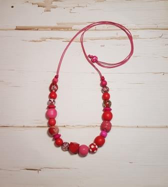 Medium Mixed Bead Necklace, Red & Pink-1