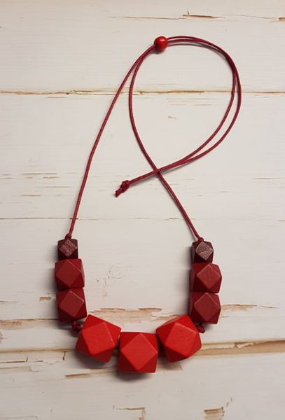 Chunky Hexagon Necklace - Reds