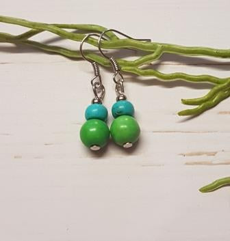 Green & Blue Small Bead Earring - 2