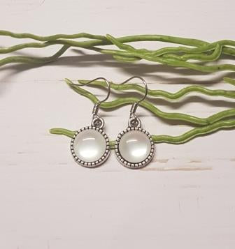 White Cabochon Earring -1