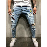 2019 new Men Ripped Distressed Slim Fit Elastic Stretch Patches Male streetwear hiphop Hole Denim Pants Biker denim trousers