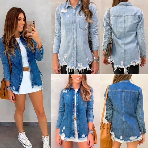 Autumn Denim Cotton Womens Tops and Blouses Long Sleeve Button  Ripped Hole Blouse Shirts Ladies Casual Blusas