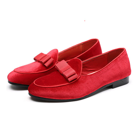 2019  Newest Men Bowknot Suede Loafers Wedding Dress Male Flats Gentlemen Casual Slip on Leather Shoes Men Formal Shoes 37-48