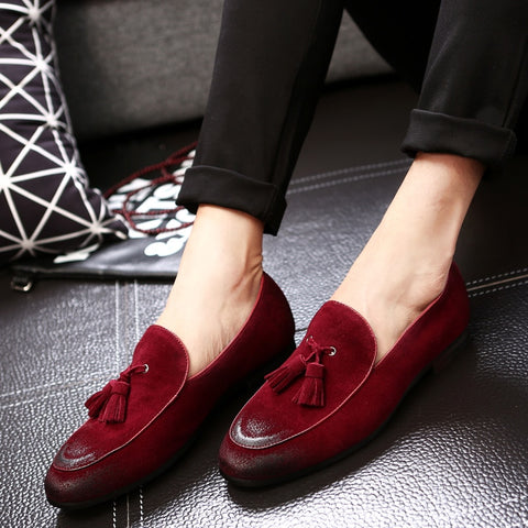 New Fashion Suede Leather Loafers Men's Flats Tassel Retro Slip-On Breathable Shoes Comfortable Loafers Shoes Men Plus size 48