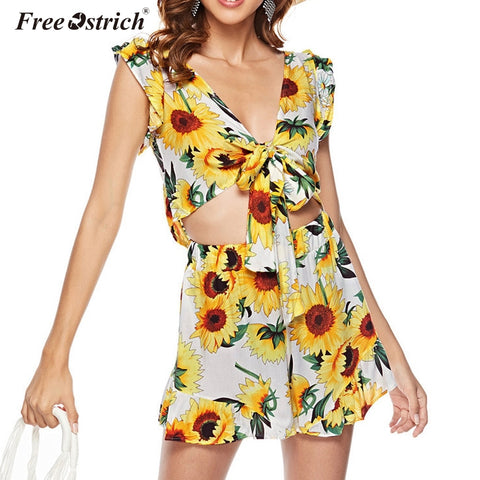 Free Ostrich Women Set Summer Sleeveless Floral Crop Top Elastic Waist Shorts Two Piece Set Casual Beach Suit Women Clothing N30