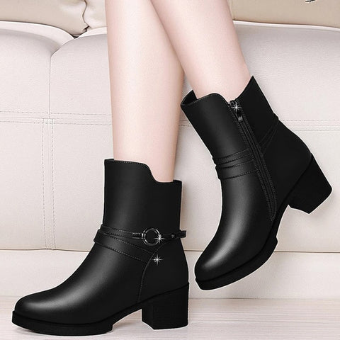 Elegant Women's Ankle Boots Leather Short Boot 2019 Lady Winter High Heel Shoes Wedding Party Formal Dress Shoes England Style