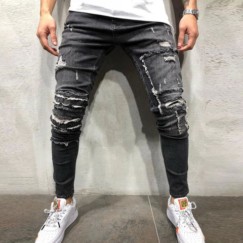 2019 New Men's Ripped Skinny Distressed Destroyed Slim Stretch Biker Jeans Pants With Holes Full Length Jeans