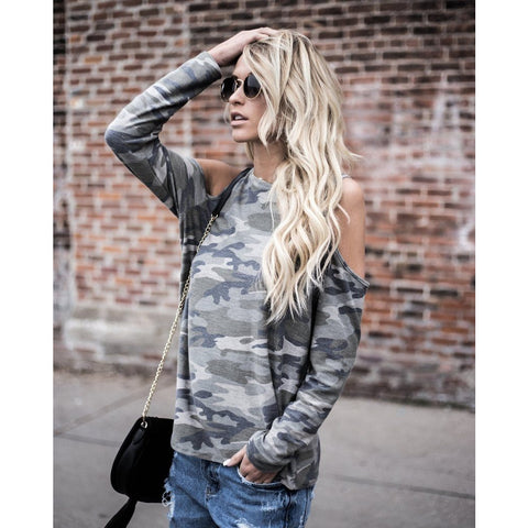 Free Ostrich 2019 Celmia Women Camouflage O Neck Off Shoulder Sexy Blouse Casual Spring Long Sleeve Loose Shirt Party Top C2935