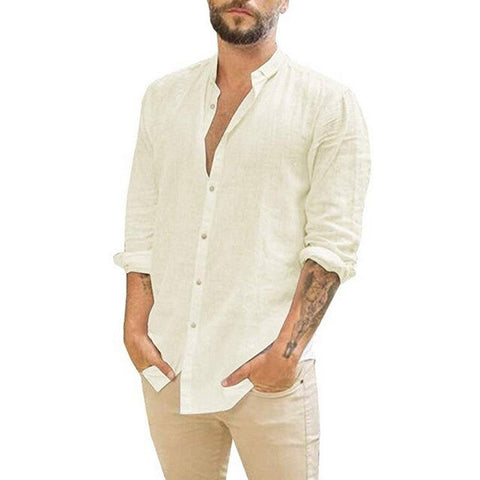 Adisputent 2020 Summer Men Shirt Baggy Cotton Linen Solid Long Sleeve Button Retro long Shirts Tops Camisa Masculina Plus Size
