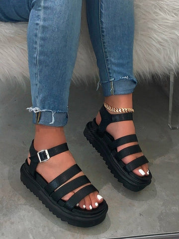 2020 women platform sandals shoes woman ladies Spring/summer new female chunky heels leather sandals outdoor beach slipper