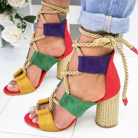 Women Sandals Lace Up Summer Shoes Woman Heels Sandals Pointed Fish Mouth Gladiator Sandals Woman Hemp Rope High Heels Shoes