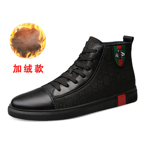 Fashion Men Casual Shoes Autumn Winter Boots Men High Top Sneakers Male Luxury Footwear 2019 New White Men High-top Shoes Men S
