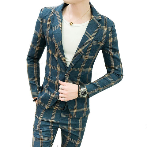 Mens Suits Blazers Formal Plaid Vintage Suits With Pants 2 piece set British Male Tuxedos Slim Fit Business Casual Wedding groom