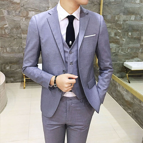 Plus Size 5XL Men One Button 3 Pieces Navy Formal Business Blazer Suits Notch Lapel Men Three Piece Suits Wedding Groom Tuxedos