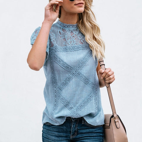 Cotton Lace Shirts Women 2019 Fashion O neck Short Sleeve Casual Summer Blouses and Tops Sexy Hollow out Tops Blusas