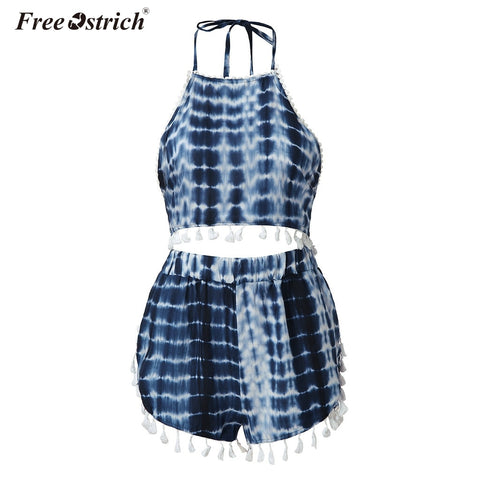 Free Ostrich Fashion Two Pieces Women Set Sexy Crop Top With High Elastic Waist Shorts Suit Outfits Beachwear Women Sets N30