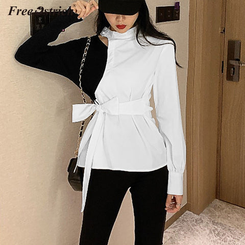 Free Ostrich Blouses Women O-neck Shirt Sashes Slim Casual Tops Female 2020 Autumn Fashion Long Sleeve Blouse N30