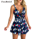 Free Ostrich Jumpsuit Women 2019 Summer Print Sleeveless V Neck Bow Sexy Romper Vintage Jumpsuits Playsuit Combishort N30