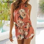 Free Ostrich Jumpsuit Women O Neck Summer High Waist Bow Tie Slim Female Fashion Sexy Floral Printed Rompers N30