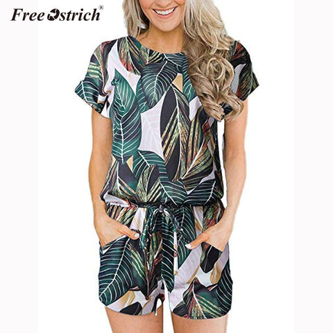 Free Ostrich Girl Sexy Playsuits Women Short Sleeve O Neck Printed Jumpsuits Summer Beach Party Casual Lace Up Romper N30