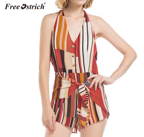 Free Ostrich Womens Summer Stripe Printing Sleeveless Rompers Jumpsuit combinaison femme short jumpsuits for women 2019 N30