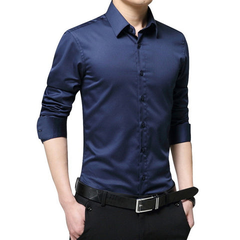 Adisputent 2020 Men Solid Shirts Long Sleeve Shirt Men Slim Business Formal Casual Male Dress Shirt Plus Size Camisa Masculina