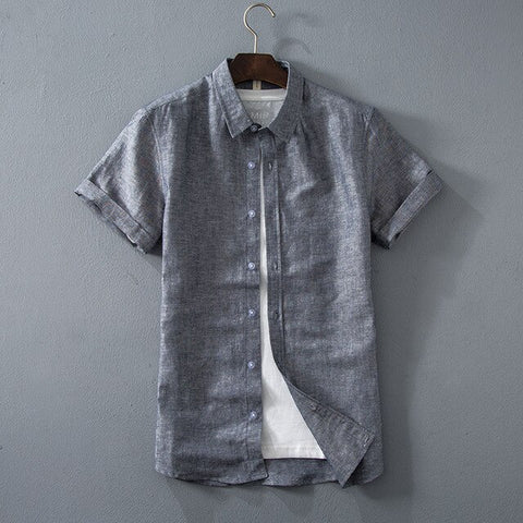 2020 Summer New Men's Casual Linen Shirt Fashion Classic Style Solid Color Short Sleeve White Shirt Male Brand Clothes Pink Gray