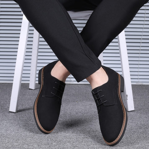 2019 Newest Suede Leather Soft Shoes Men Loafers Oxfords Casual Male Formal Shoes Spring Lace-Up Style Men's Shoes Plus size-48