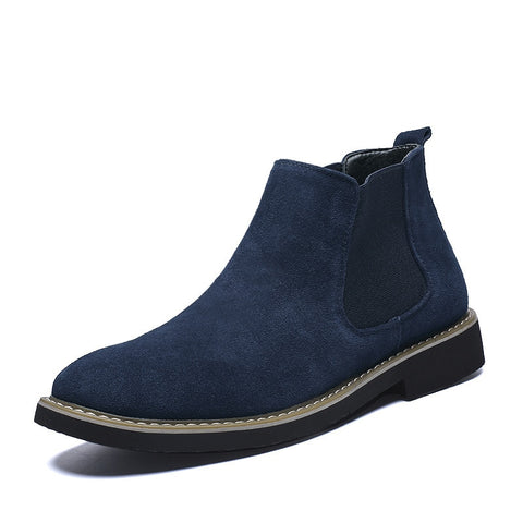 Fashion Tide Ankle Boots Mens Shoes Winter Casual Pointed Toe Chelsea Boots Men Genuine Leather Suede Slip-on High-top Shoe