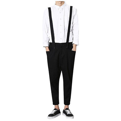 Male casual overalls Hip hop Male casual loose pants New arrival Black jumpsuits Men suspender trouser bib pants Clothing