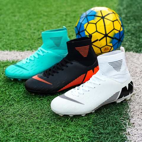 Outdoor Men Boys Soccer Shoes Football Boots High Ankle Kids Turf Cleats Training Sport Sneakers Unisex Long Spikes Futsal Shoes