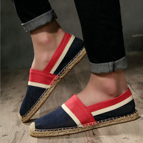 Fashion Men Flats Plimsolls Striped Canvas Boys Casual Linen Shoes Men Hemp Shoes Male Espadrille Fisherman Shoe Tenis Masculino