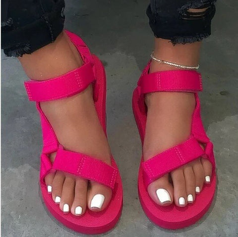 2020 New Summer Women Flat Sandals Platform Sandals Ladies Buckle Strap Outdoor Casual Beach Shoes Womens Plus Size Footwear