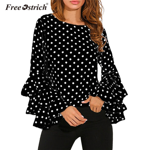 Free Ostrich Blouse Women Long Ruffles Sleeve Polka Dot Chiffon Shirt Casual O-Neck Elegant Women Tops Blusas L2030