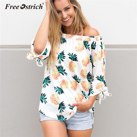 Free Ostrich Blouse Women Fashion Off Shoulder Slash Neck Pineapple Print Long Sleeve Loose Shirt Women Tops Blusas A1735