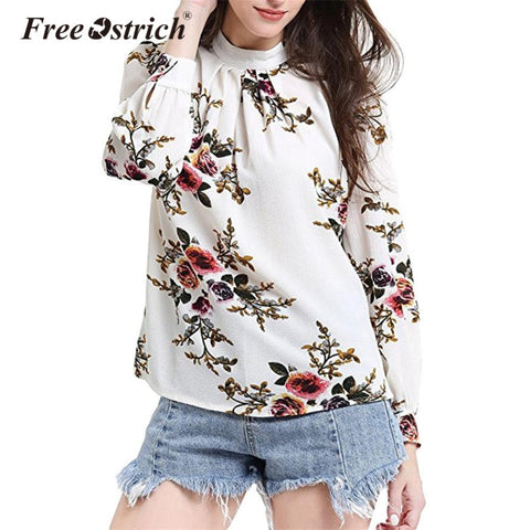 Free Ostrich Chiffon Blouse Women Floral Print Elegant Long Sleeve Petal Shirts Tops Autumn Ladies Loose Femme Blusas L2535