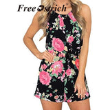 Free Ostrich Summer Rompers Women Casual Playsuit Fashion Bohemian Floral Printed Jumpsuit Ladies Beach Bodycon Jumpsuits N30