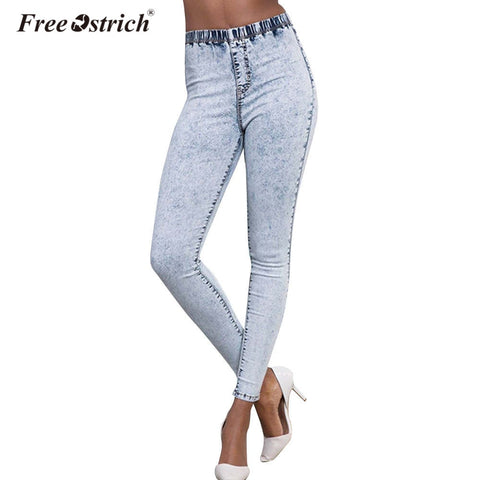 Free Ostrich Plus Size Elastic Waist Snowflake Wash Denim Bodycon Jeans Casual Ladies Butt Lifting Skinny Jeans Big Size D35