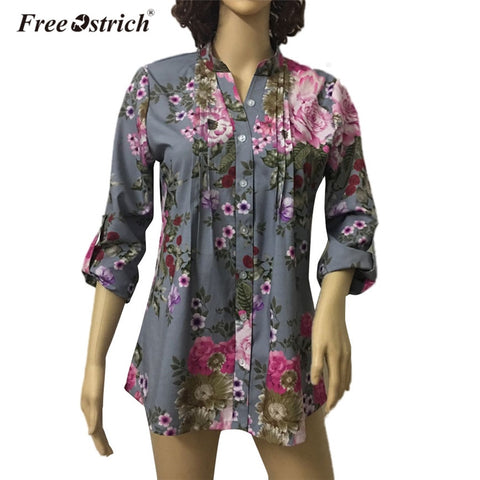 Free Ostrich Blouse Women Spring Autumn Floral Print Casual Long Sleeve Shirt Plus Size Button Vintage Women Tops L1530