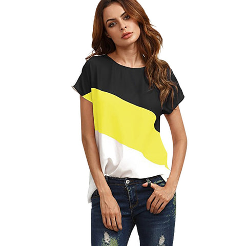 Free Ostrich blouse womens tops blouses shirts Women's Color Block Chiffon Short Sleeve Casual Blouse Shirts Tunics Tops C2635